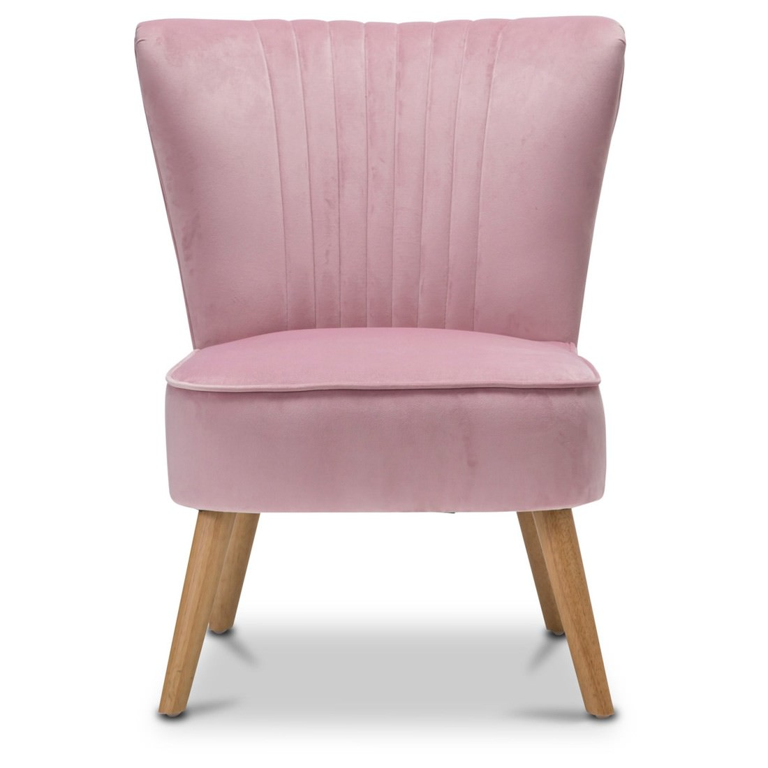 Jessi Velvet Fabric Accent Slipper Chair Blush Pink