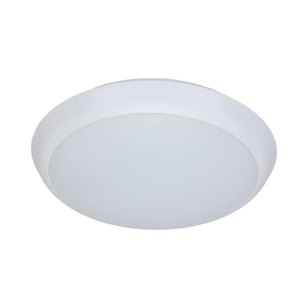Solar IP54 Indoor / Outdoor Slimline LED Oyster Light, 3000K, Round, 20cm, White