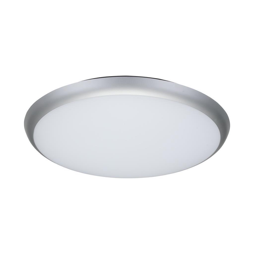 Solar IP54 Indoor / Outdoor Slimline LED Oyster Light, 5000K, Round, 40cm, Silver