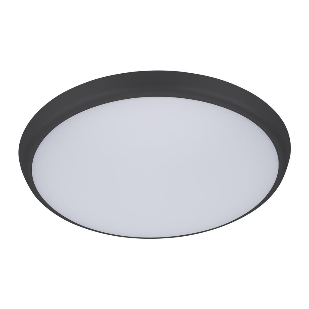 Solar IP54 Indoor / Outdoor Slimline LED Oyster Light, Tricolour, Round, 30cm, Black
