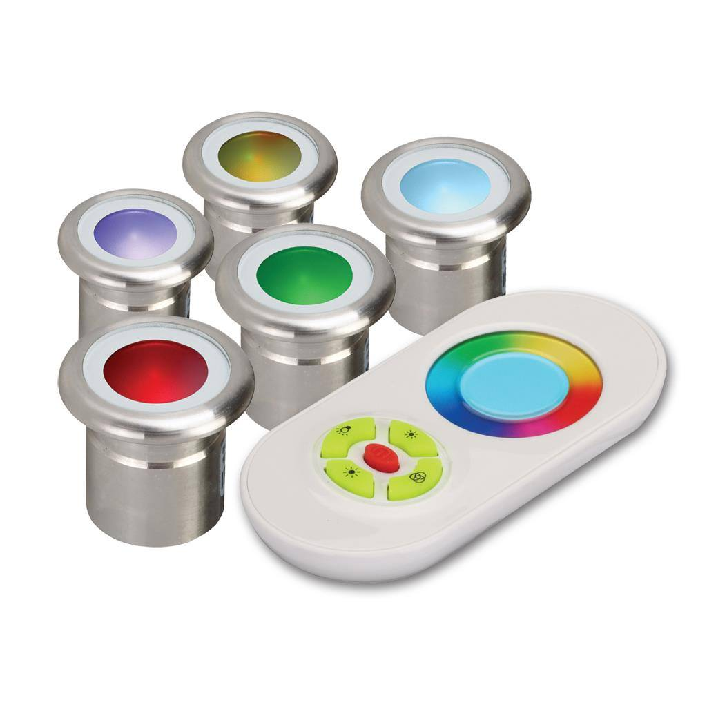 Vivid IP67 LED Deck Light 5 Pack Kit, RGB