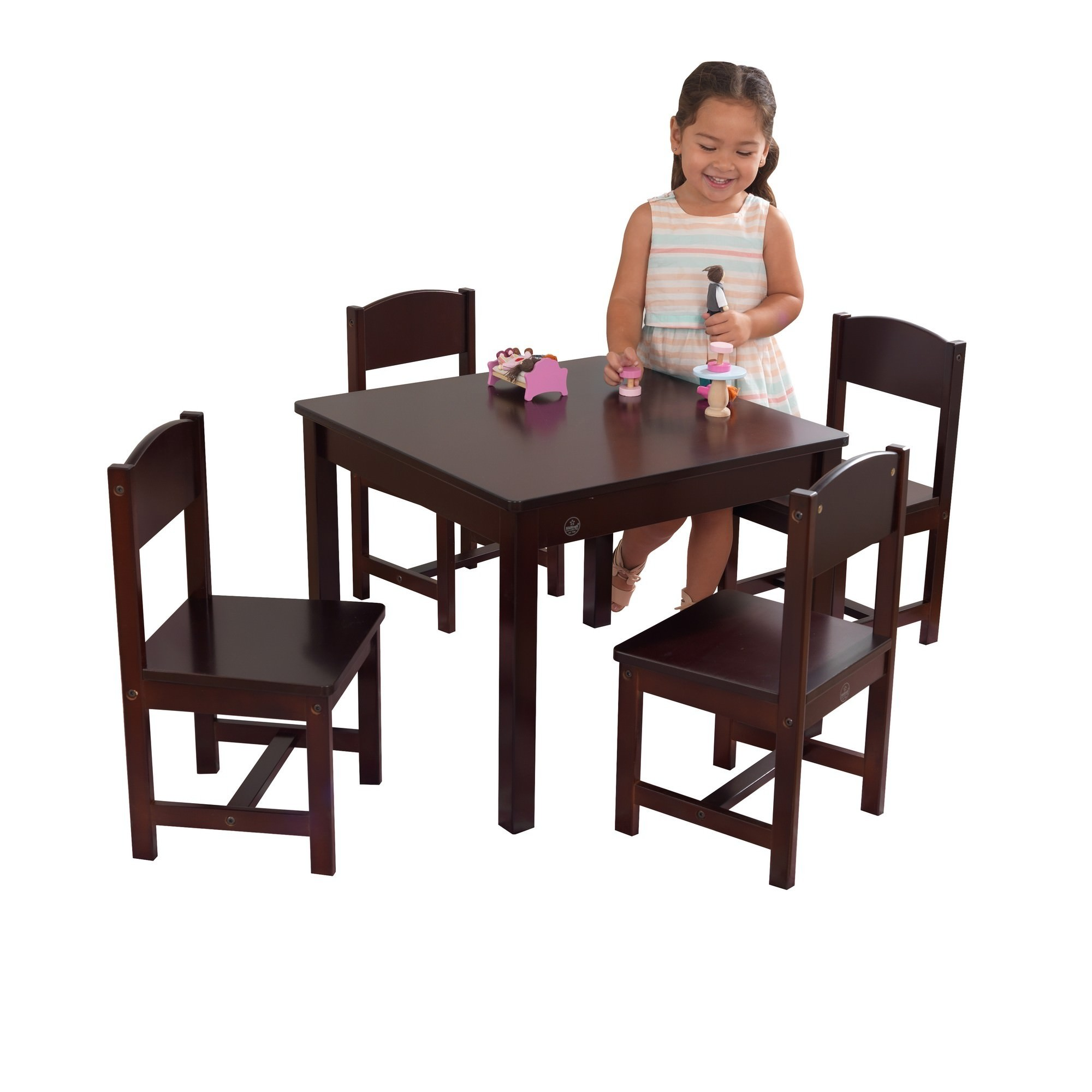 Kidkraft Farmhouse 5 Piece Kids Table & Chairs Set, Espresso