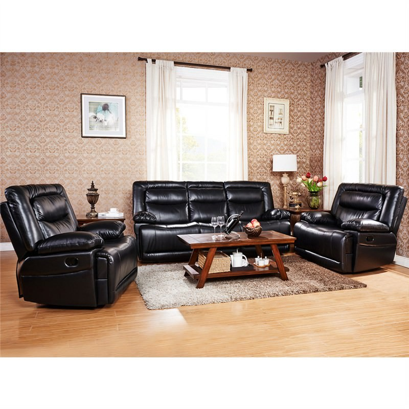 Testa 3 Piece Leather Recliner Sofa Set - 3 Seater & Single Seater