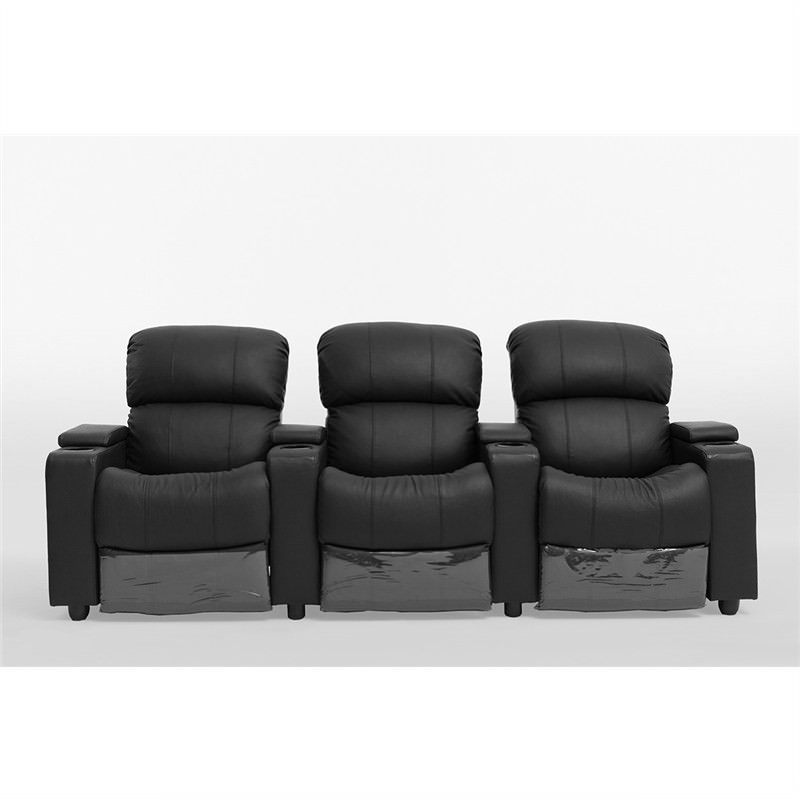 Sophie Leather 3 Seater Theatre Push Back Recliner Lounge Suite