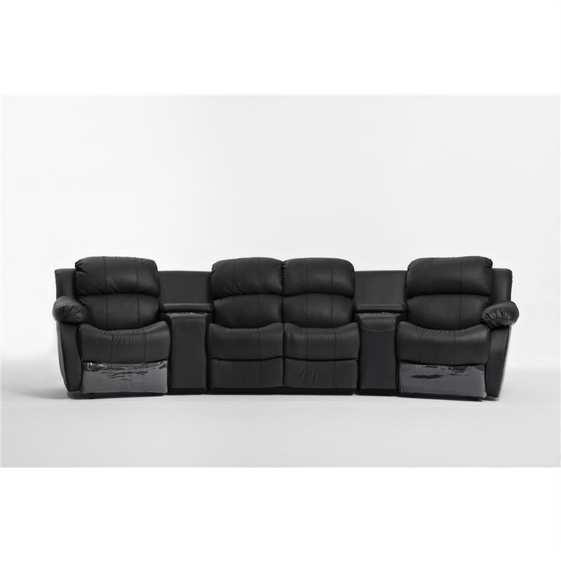 Nikki Genuine Leather 4 Seater Lounge Suite with 2 Recliners, Black