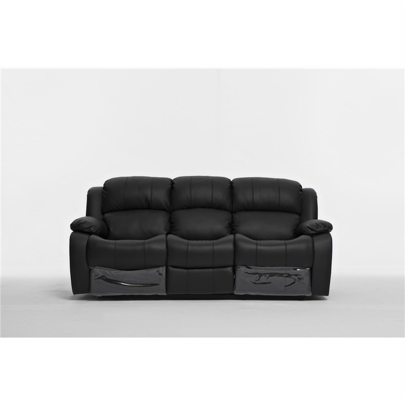 Kacey Leather 3 Seater Recliner Sofa, Black