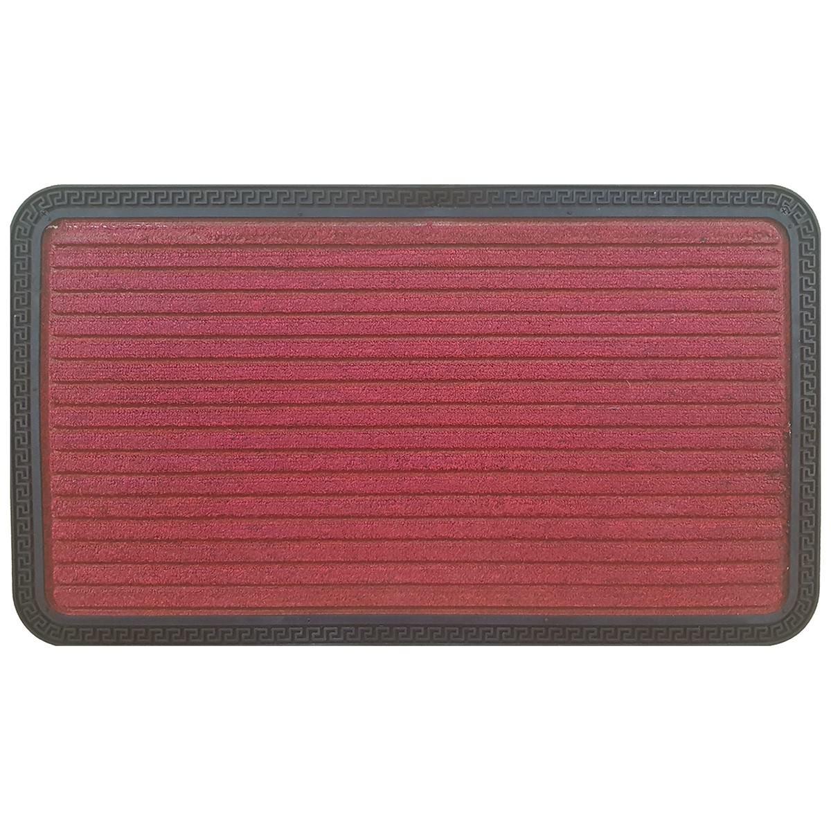 Senart Stripe Rubber Edged Doormat, 70x40cm, Red