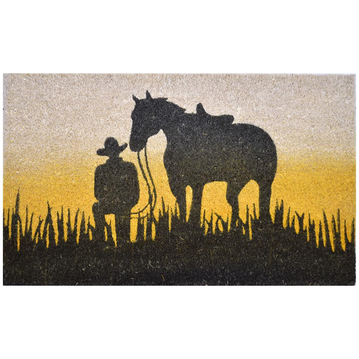 Horse Silhouette Coir Doormat, 75x45cm