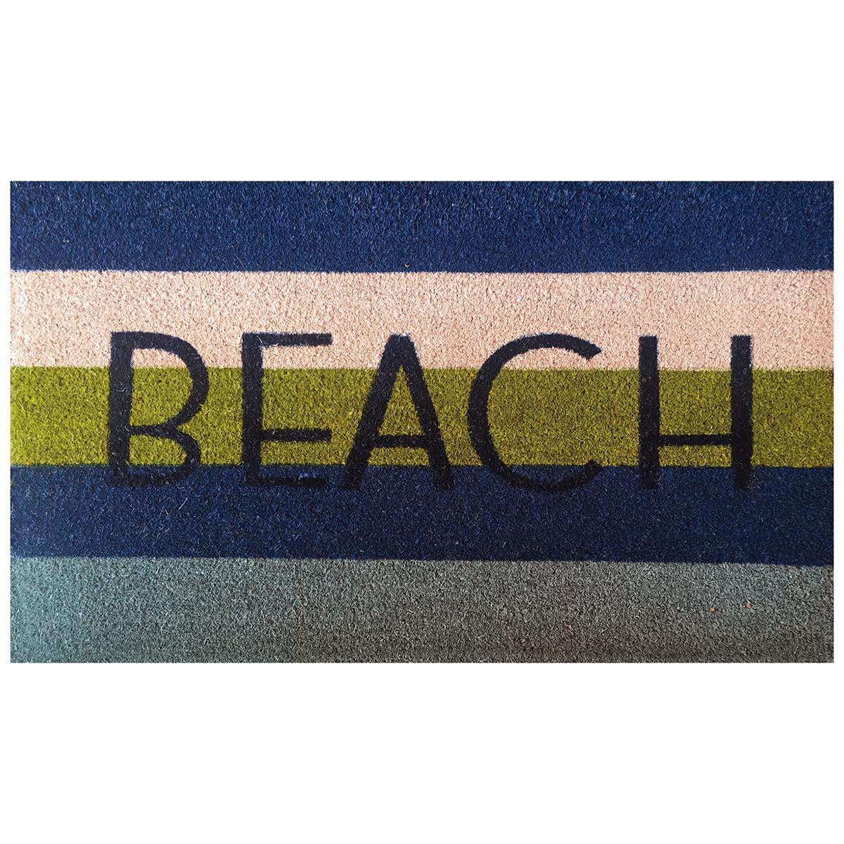 Beach Coir Doormat, 80x50cm, Ocean