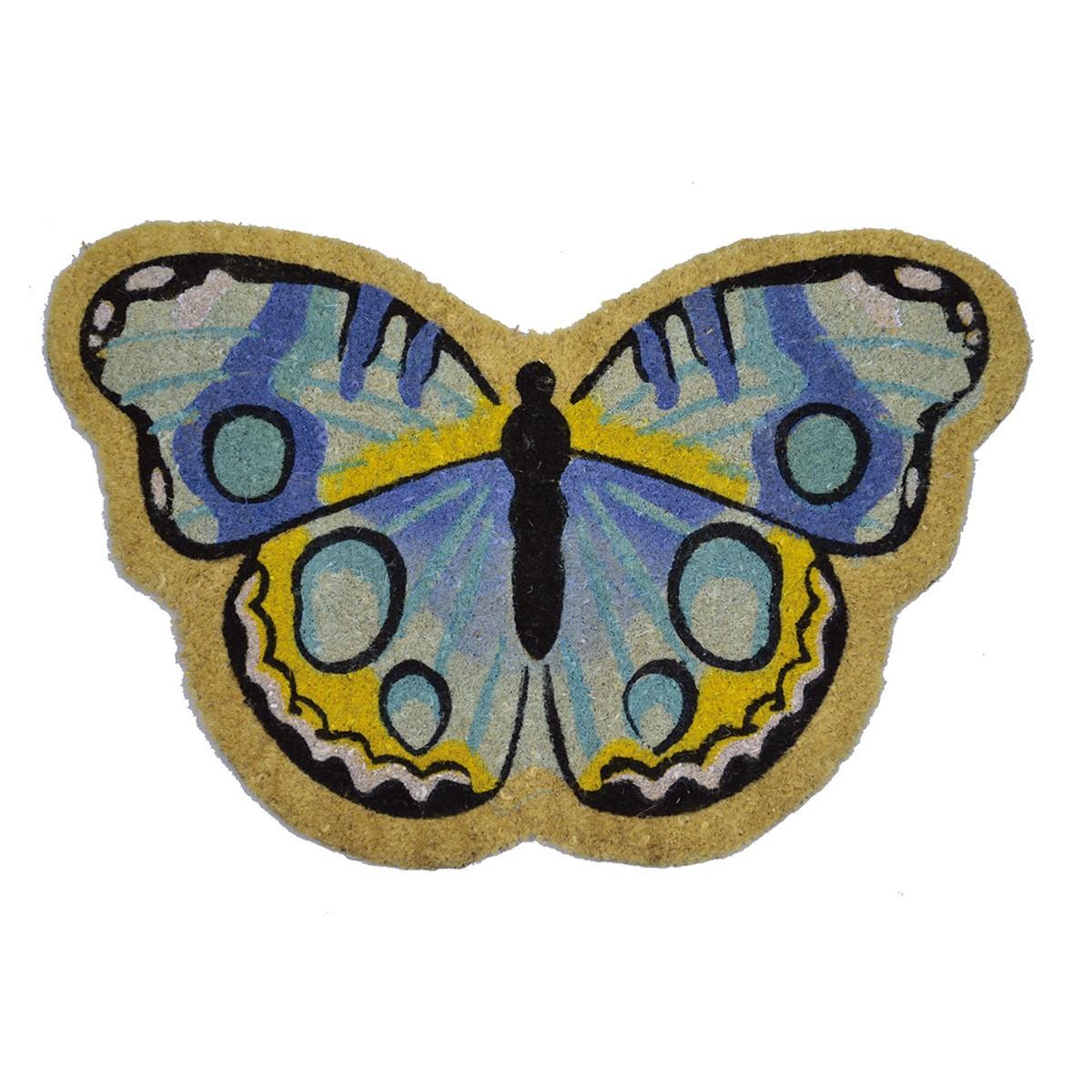 Butterfly Shaped Coir Doormat, 75x45cm