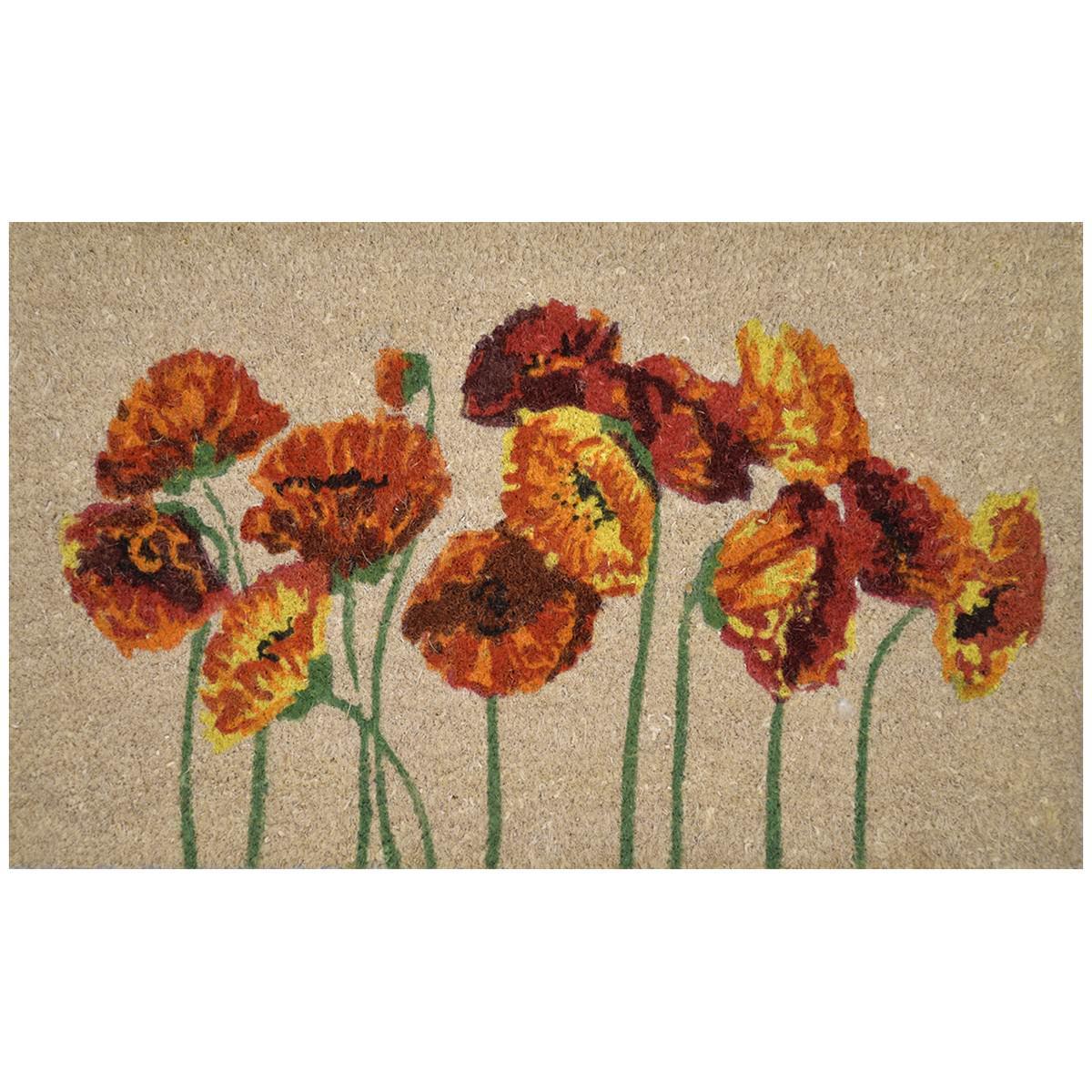 Poppies Coir Doormat, 75x45cm