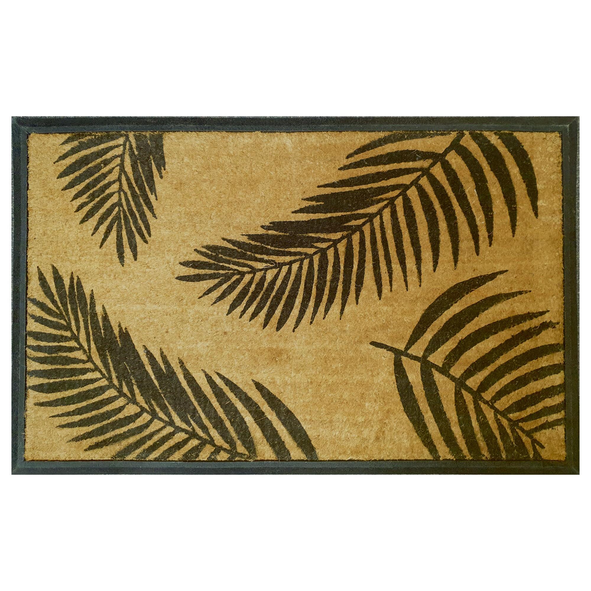 Palm Leaves Rubber Edged Coir Doormat, 120x75cm