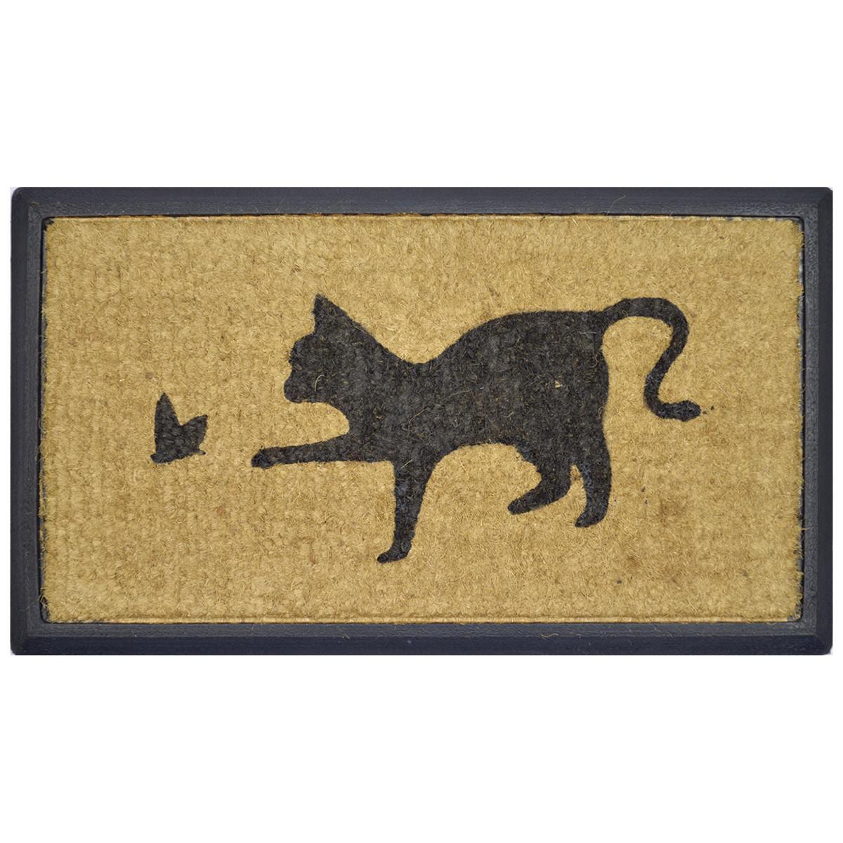 Playing Cat Rubber Edged Coir Doormat, 70x40cm