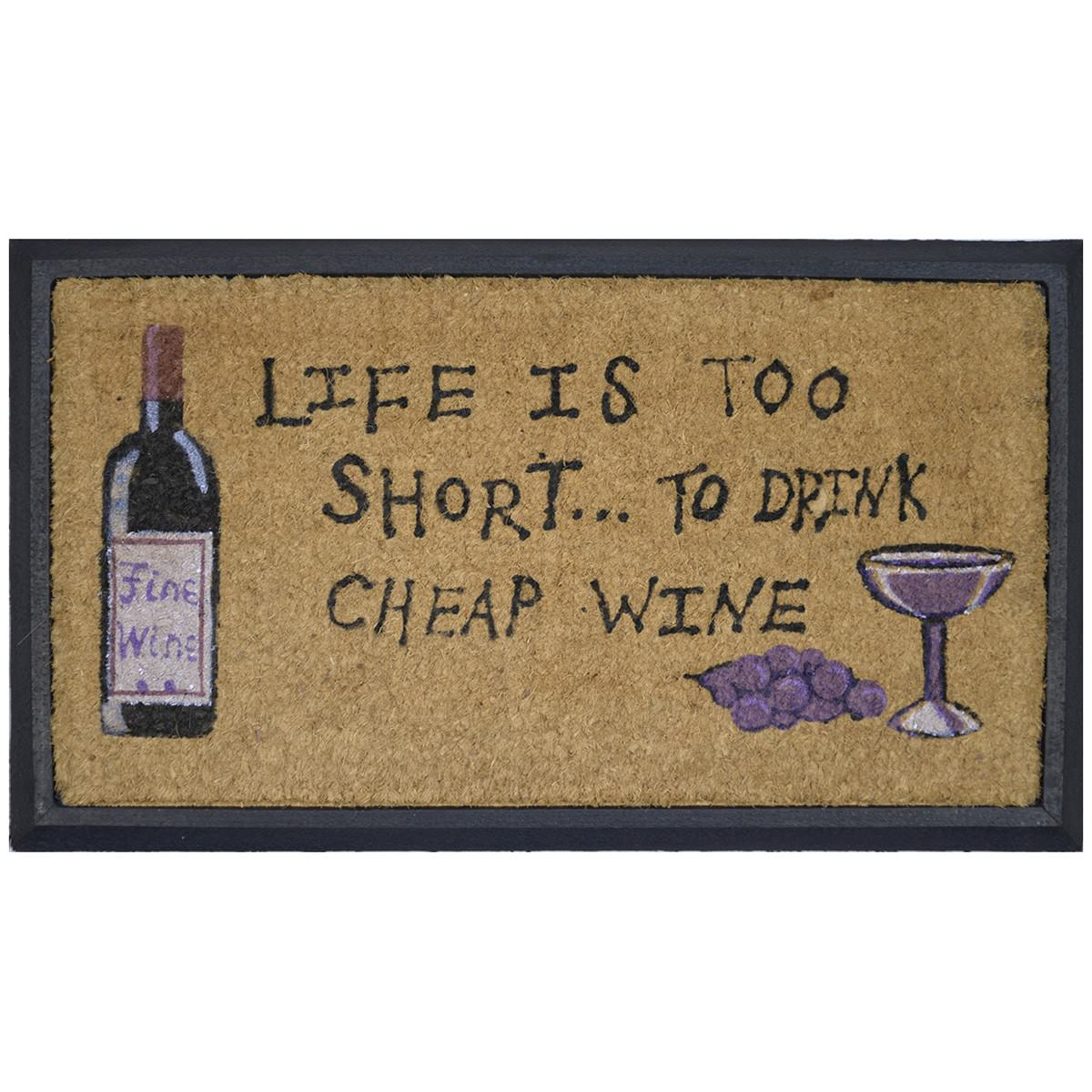 Life Is Too Short Coir & Rubber Doormat, 70x40cm