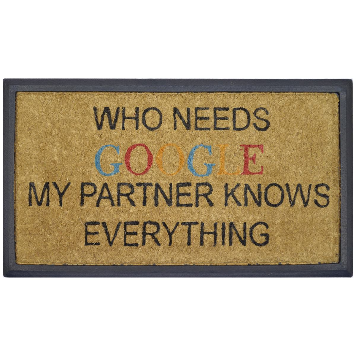 """My Partner Knows Everything"" Rubber Framed Coir Doormat, 70x40cm"