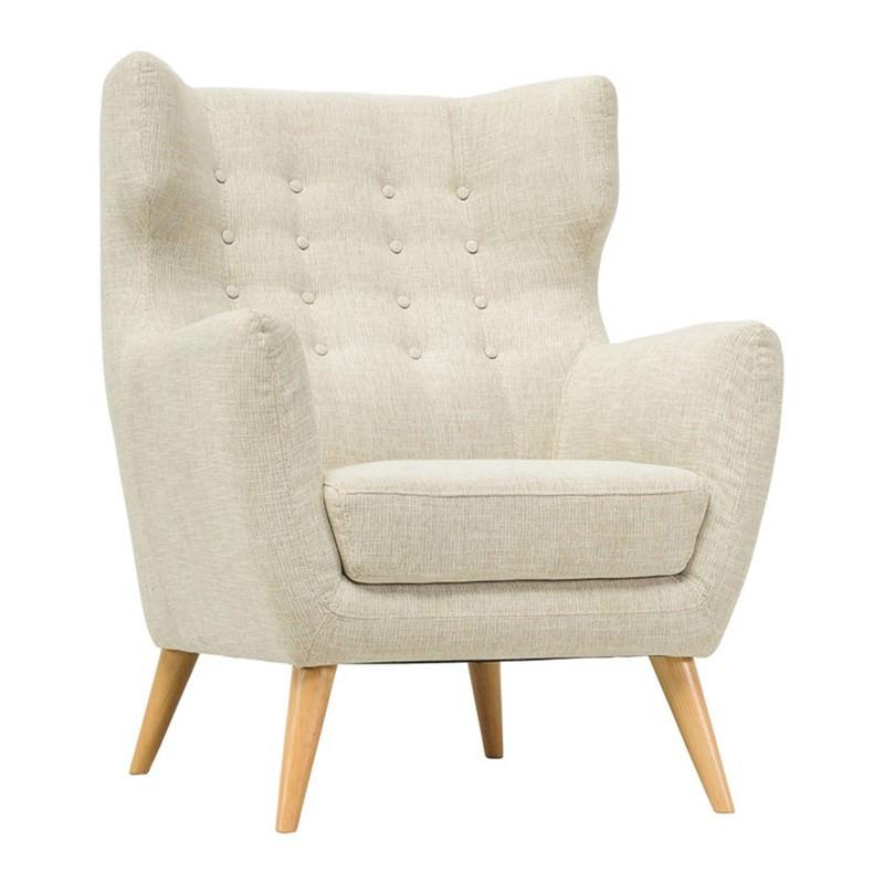 Kanion Commercial Grade Fabric Armchair, Almond