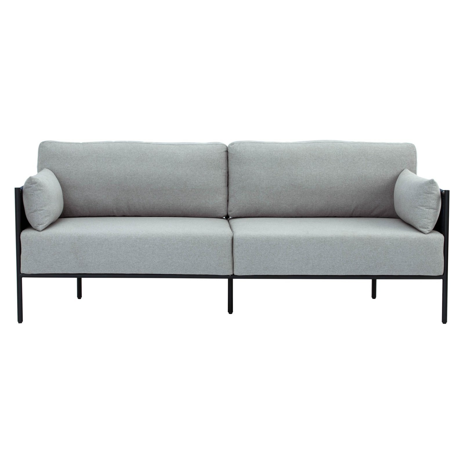Tredia Commercial Grade Fabric & Metal Sofa, 3 Seater, Grey / Dark Blue