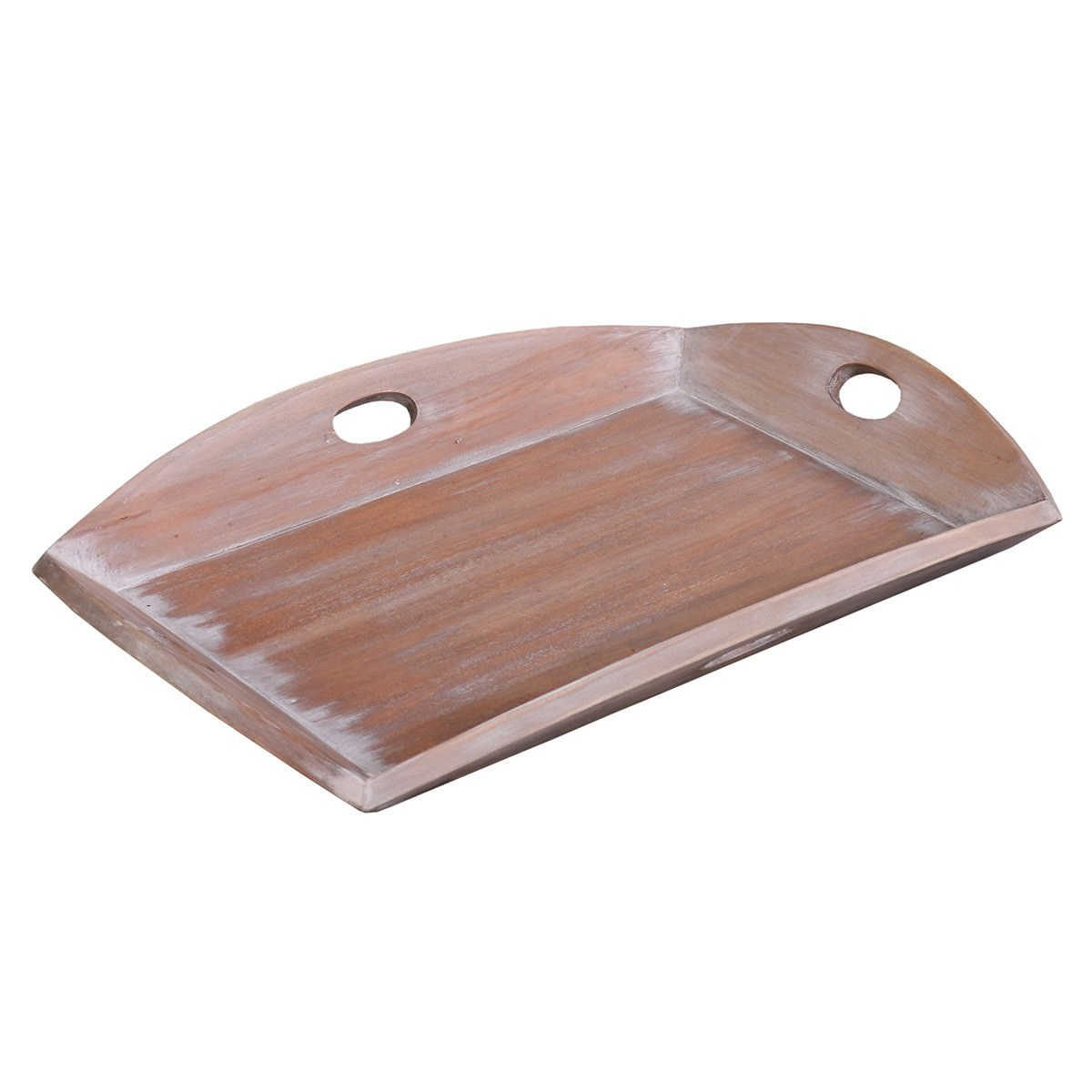Homestead Solid Mahogany Timber Tray, Lime Wash