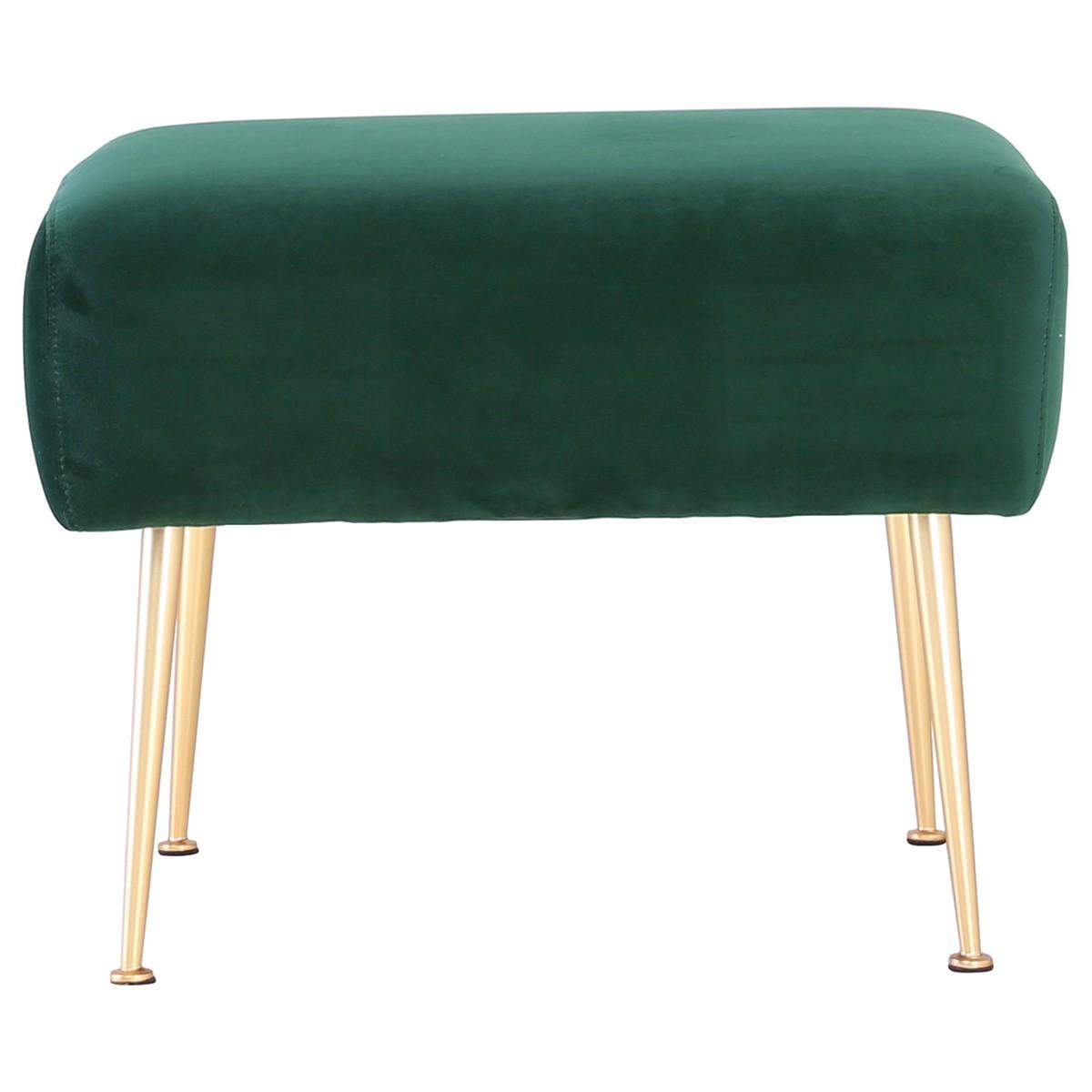 Alero Commercial Grade Veloutine Fabric Ottoman, Dark Green