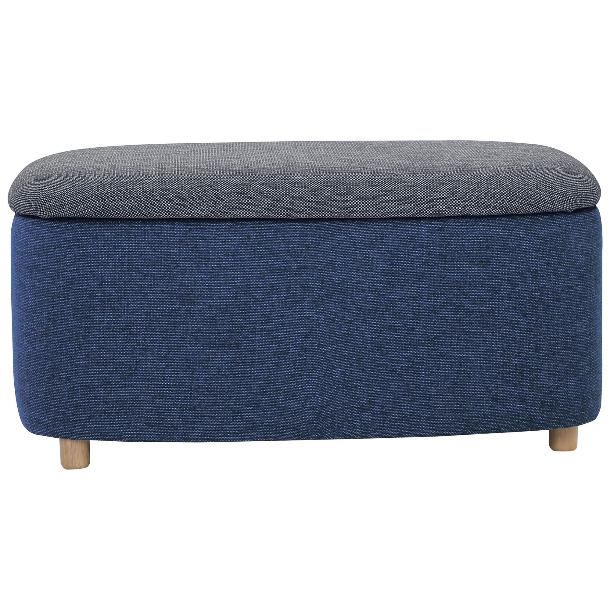 Daytona Fabric Ottoman, Large, Blue / Grey