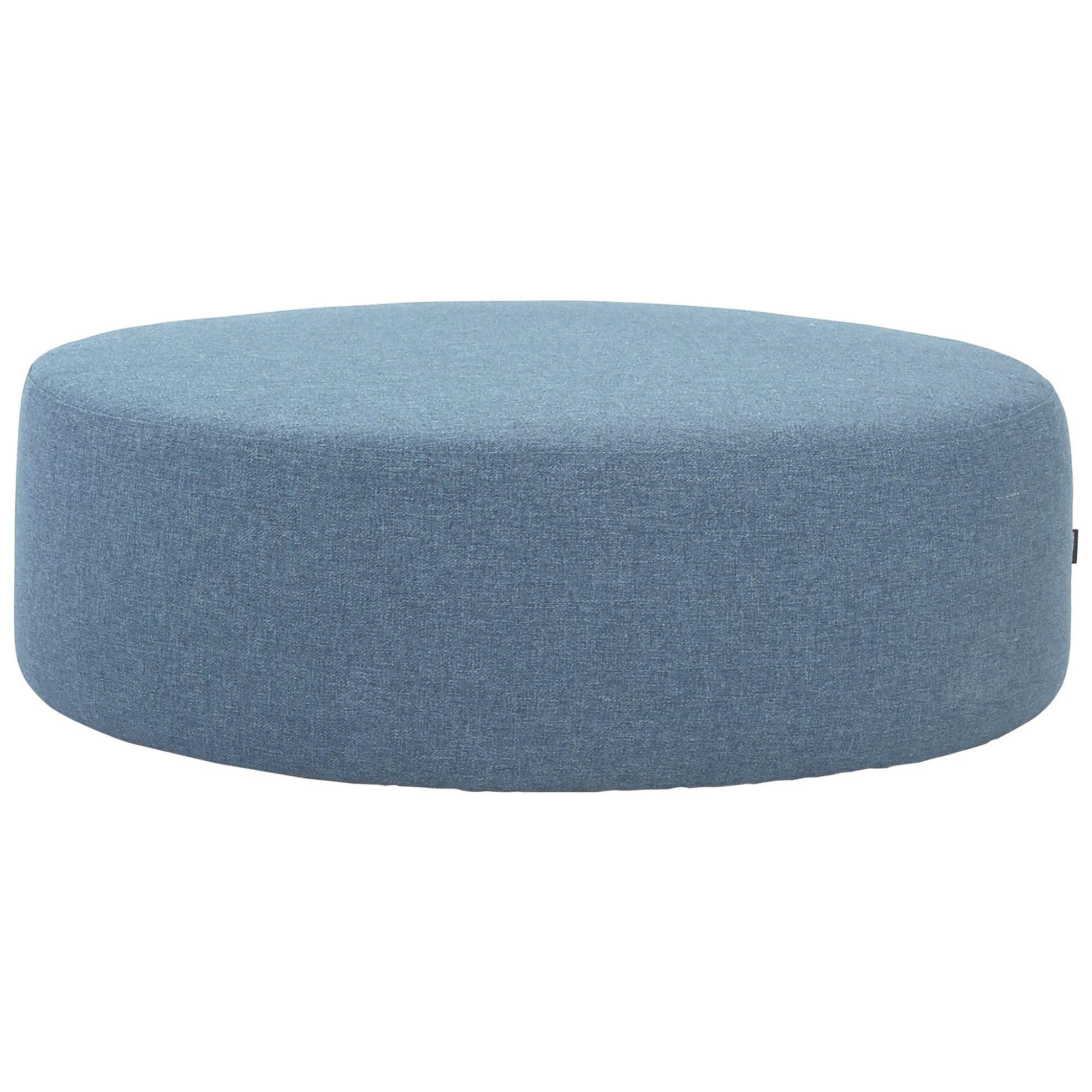 Omni Fabric Round Ottoman, 96cm, Blue