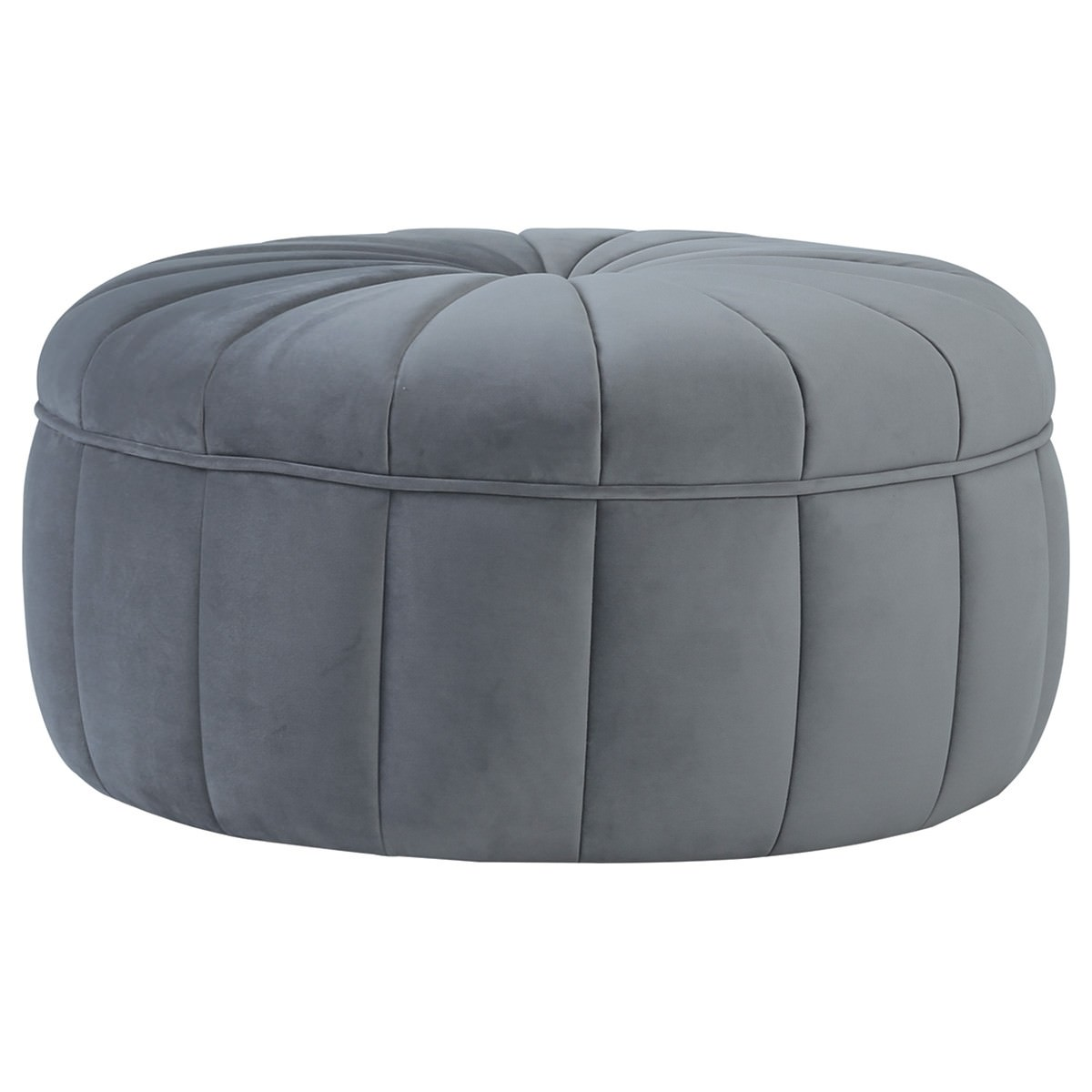 Probe Fabric Round Ottoman, Grey