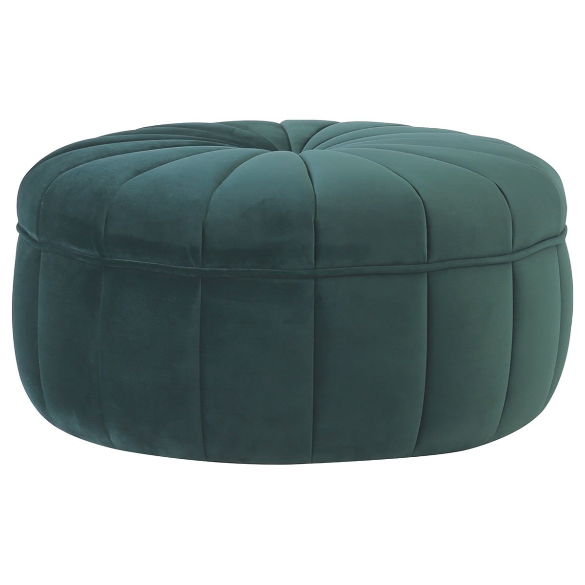 Probe Fabric Round Ottoman, Emerald