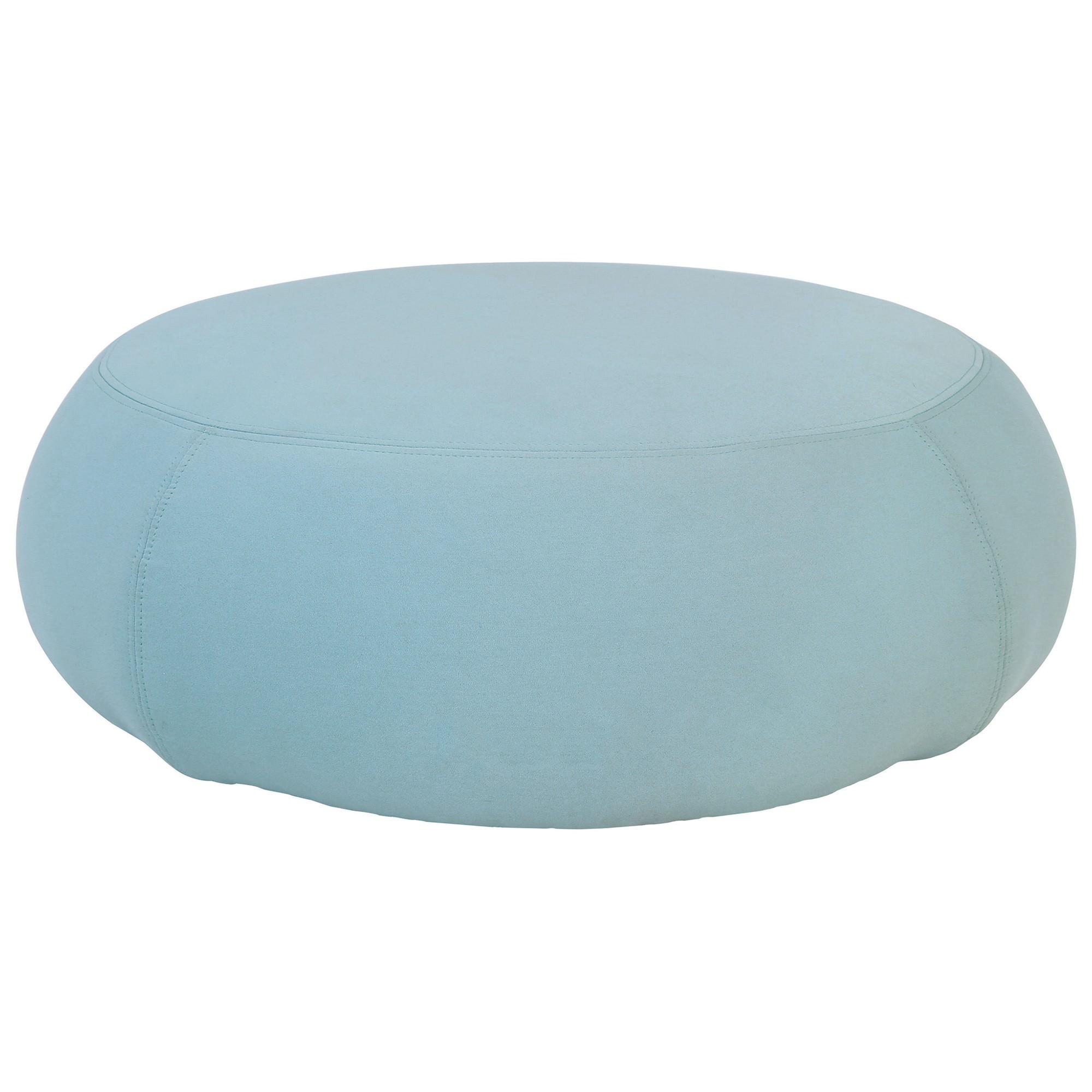 Dart Fabric Round Ottoman, Large, Jade