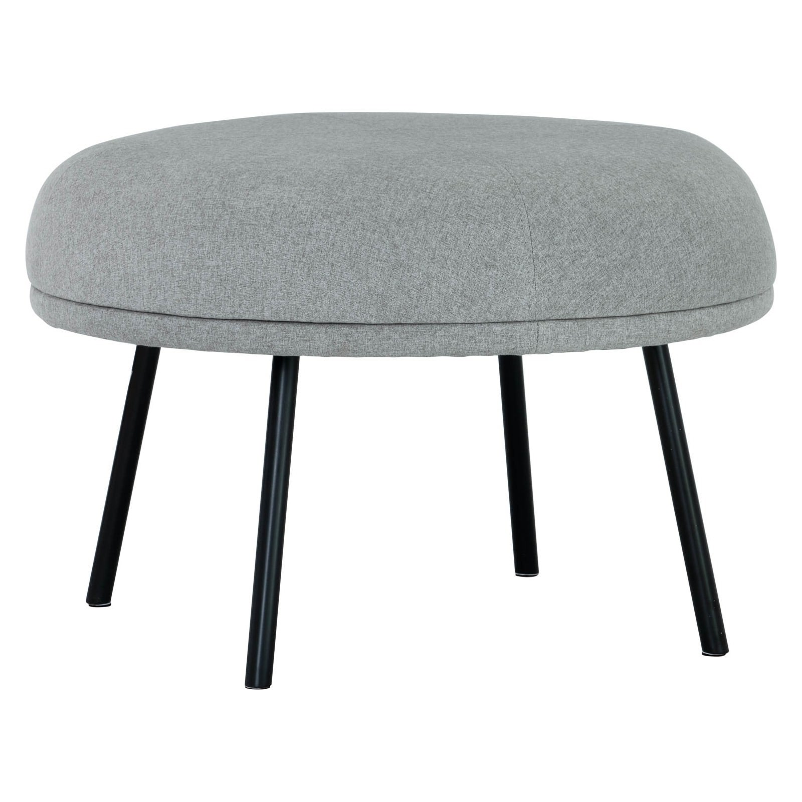 Justy Commercial Grade Fabric Round Footstool, Pale Grey