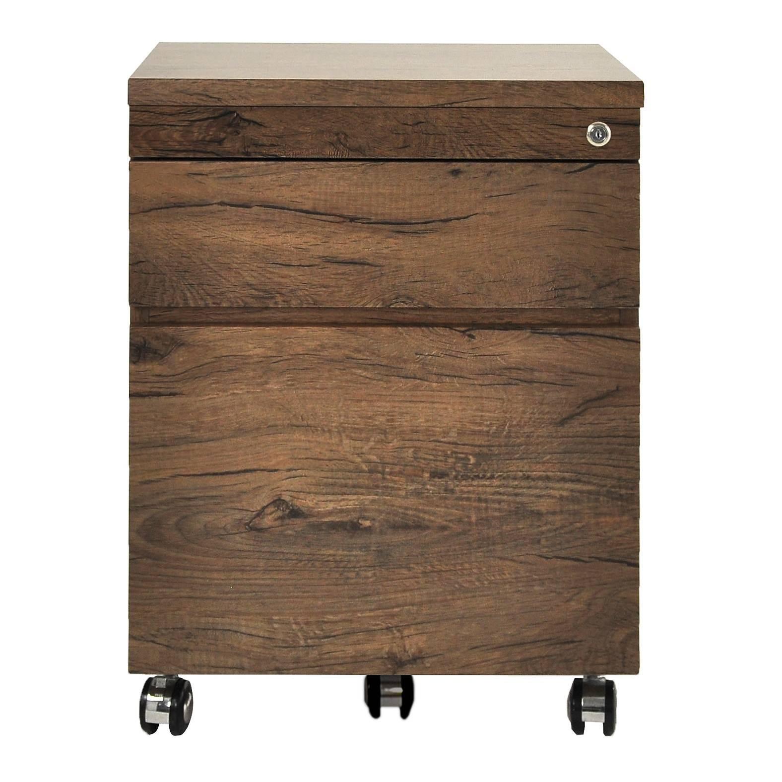 Teresa 2 Drawer File Cabinet with Castors, Antique Oak