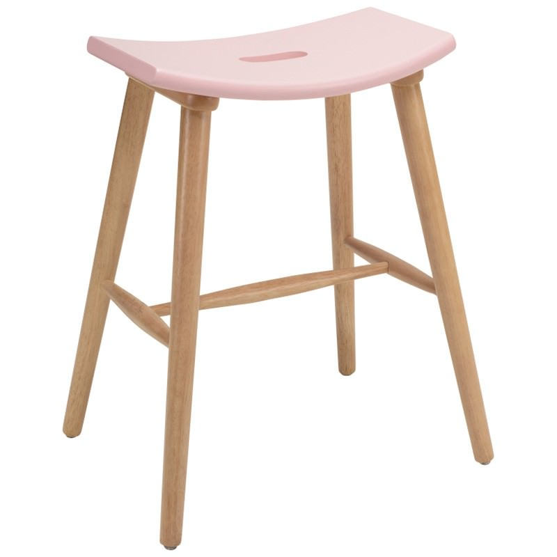 Hollis Oak Timber Counter Stool, Pink / Natural