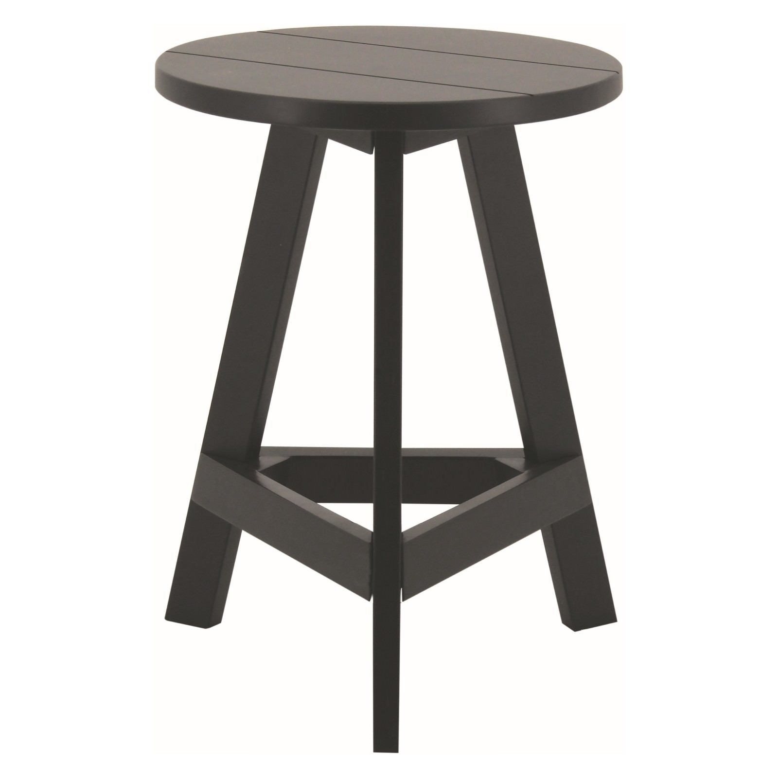 Yumi Wooden Round Table Stool, Black
