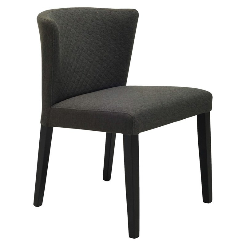 Rhoda Commercial Grade Fabric Dining Chair, Mud / Black