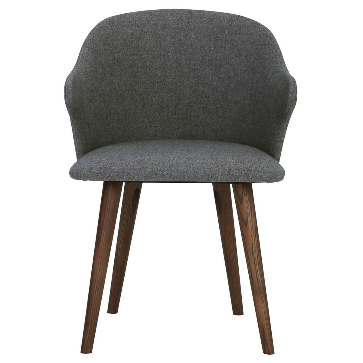Ceyla Fabric Dining Chair, Dark Grey / Cocoa