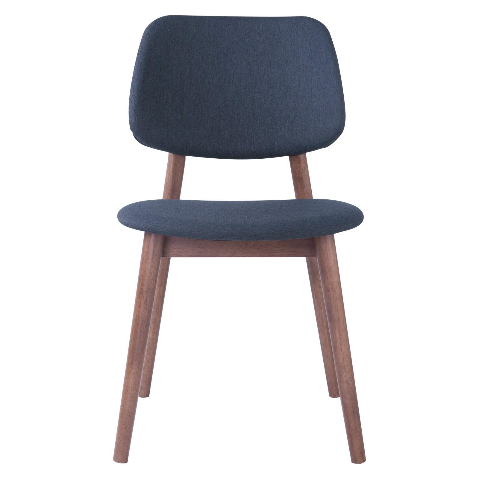 Mercy Oak Timber Dining Chair, Fabric Back, Walnut / Dark Grey