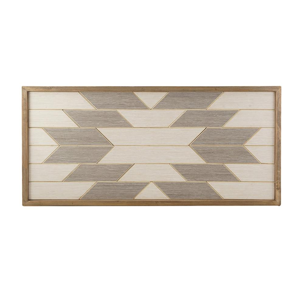 Aztec Framed Wood Parquetry Plaque Wall Art, 76cm