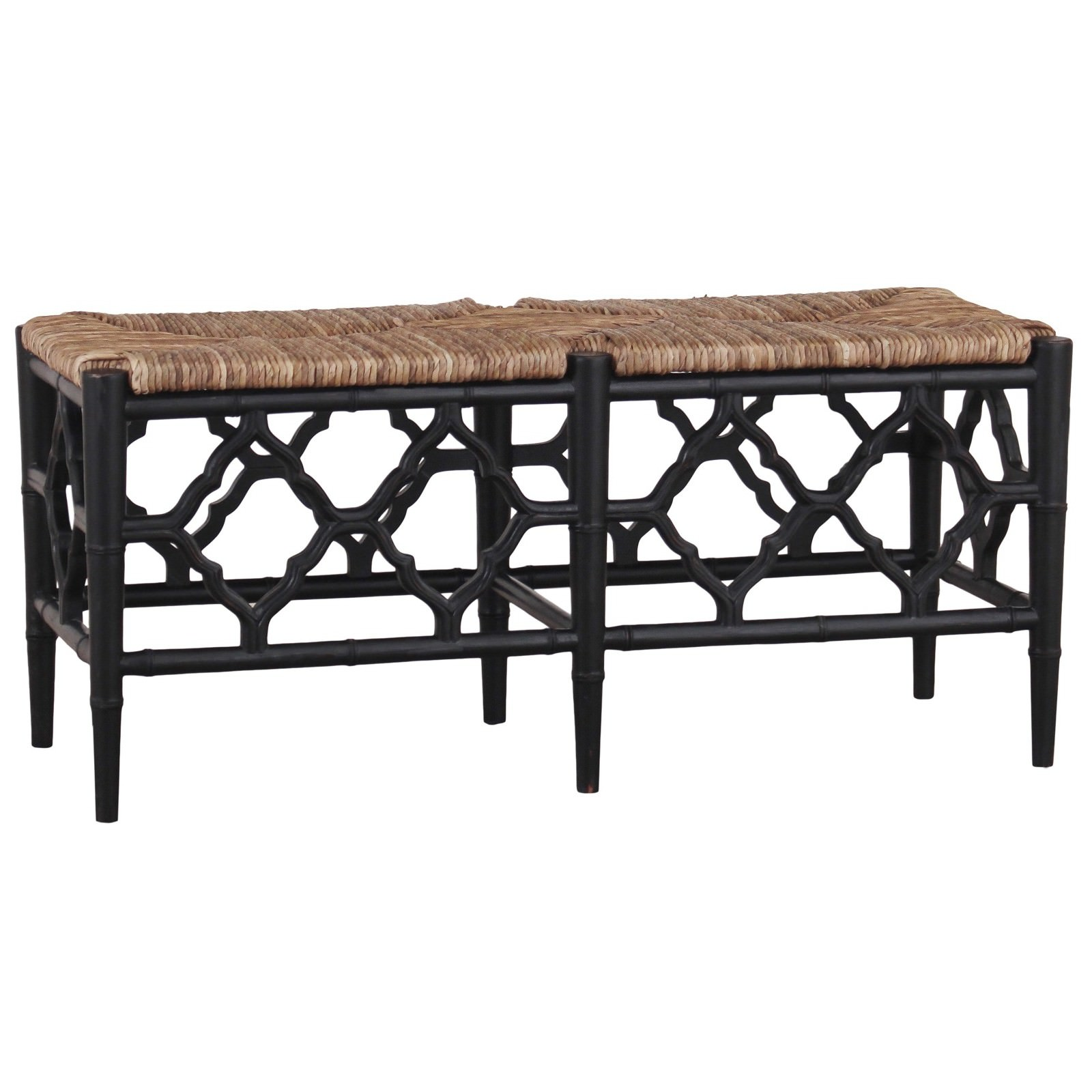 Junzi Mahogany Timber Oriental Bench, Black