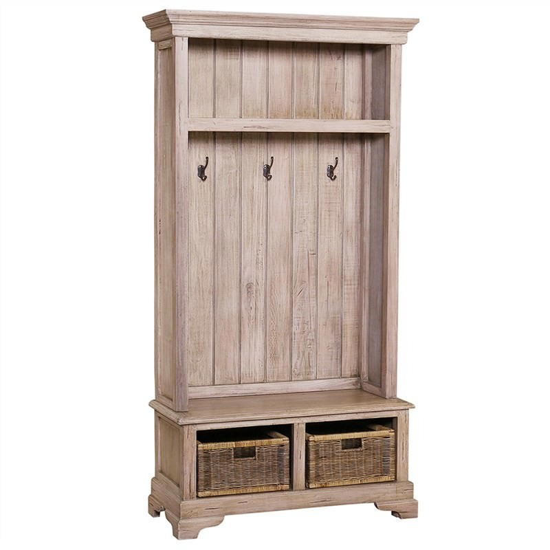 Easington Solid Mahogany Timber Hallstand with Rattan Baskets - Light Oak