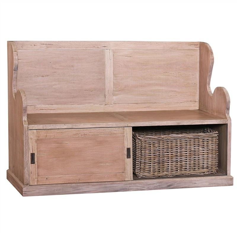 Ferne Solid Mahogany Timber Entry Bench with Storage