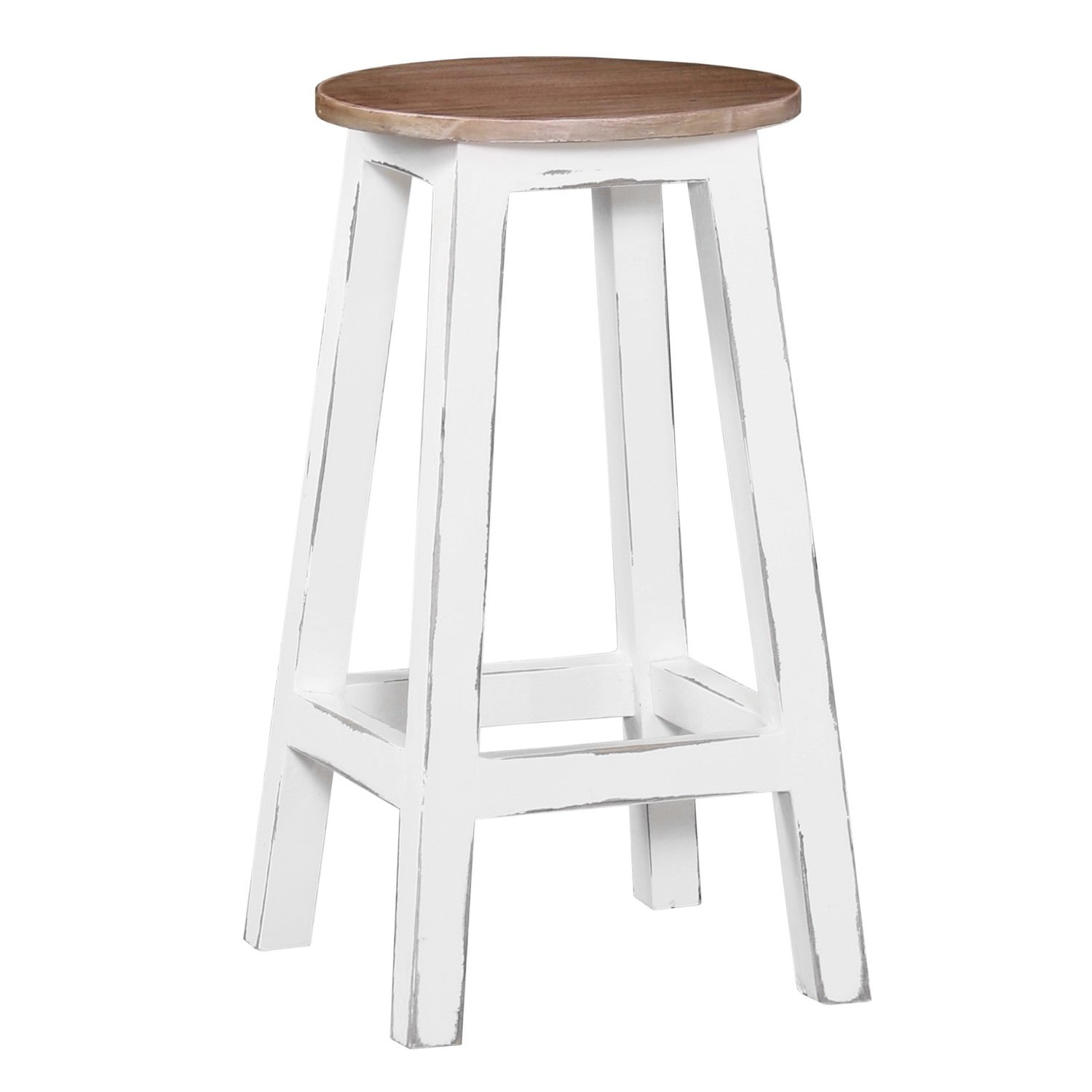 Rosson Mahogany Timber Counter Stool, Driftwood / Distressed White
