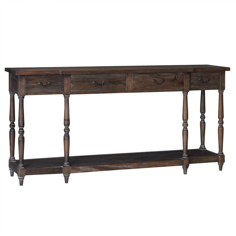 Eden Vale Solid Mahogany Timber 180cm Console Table with Shelf