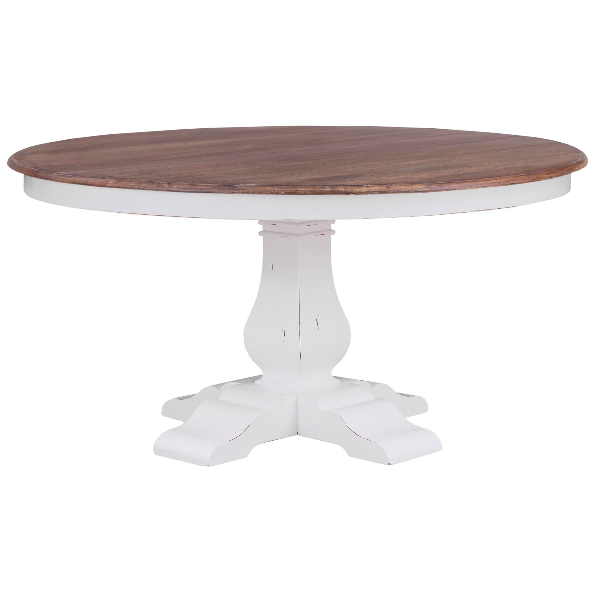 Calverton Mahogany Timber Round Dining Table, 153cm, Antique French Oak / Distressed White
