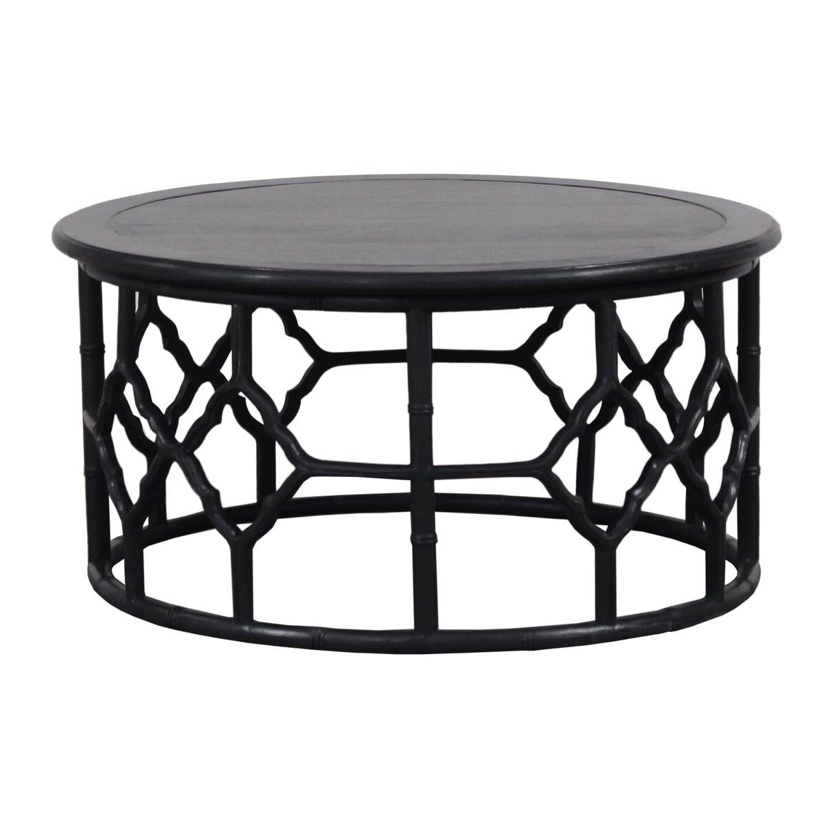 Junzi Mahogany Timber Oriental Round Coffee Table, 90cm, Black