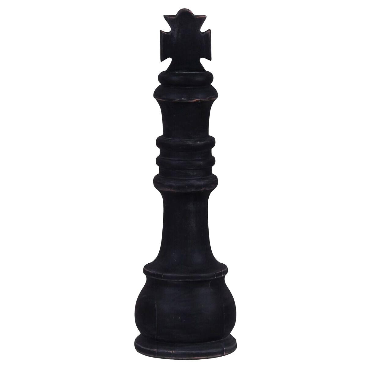 Alicia Mahogany Timber Chess Piece Ornament, King, Distressed Black