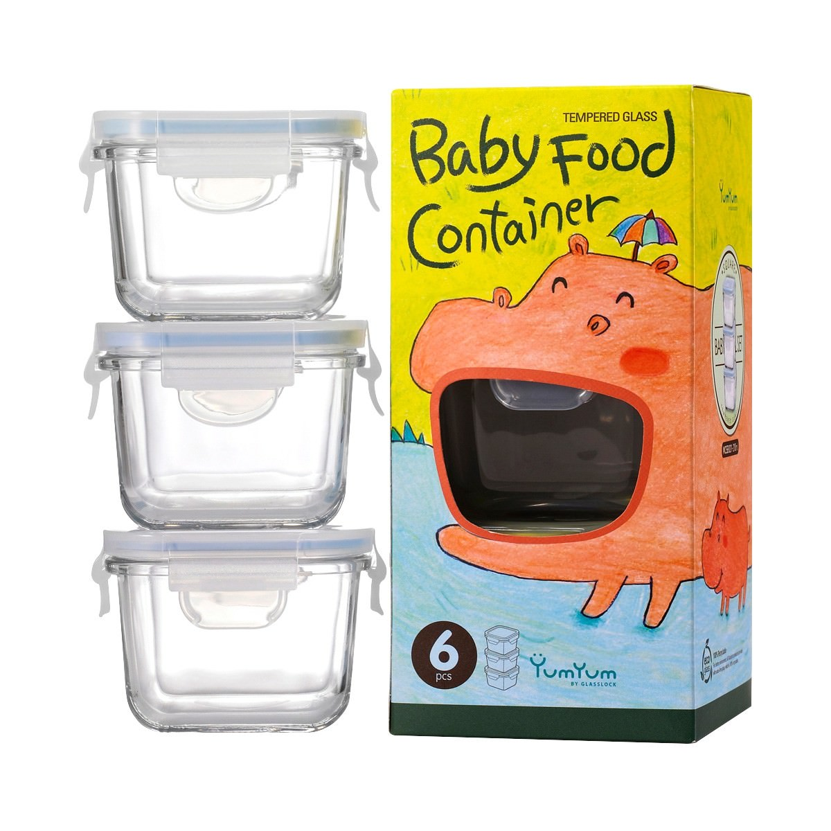 Glasslock 3 Piece Square Baby Food Container Set