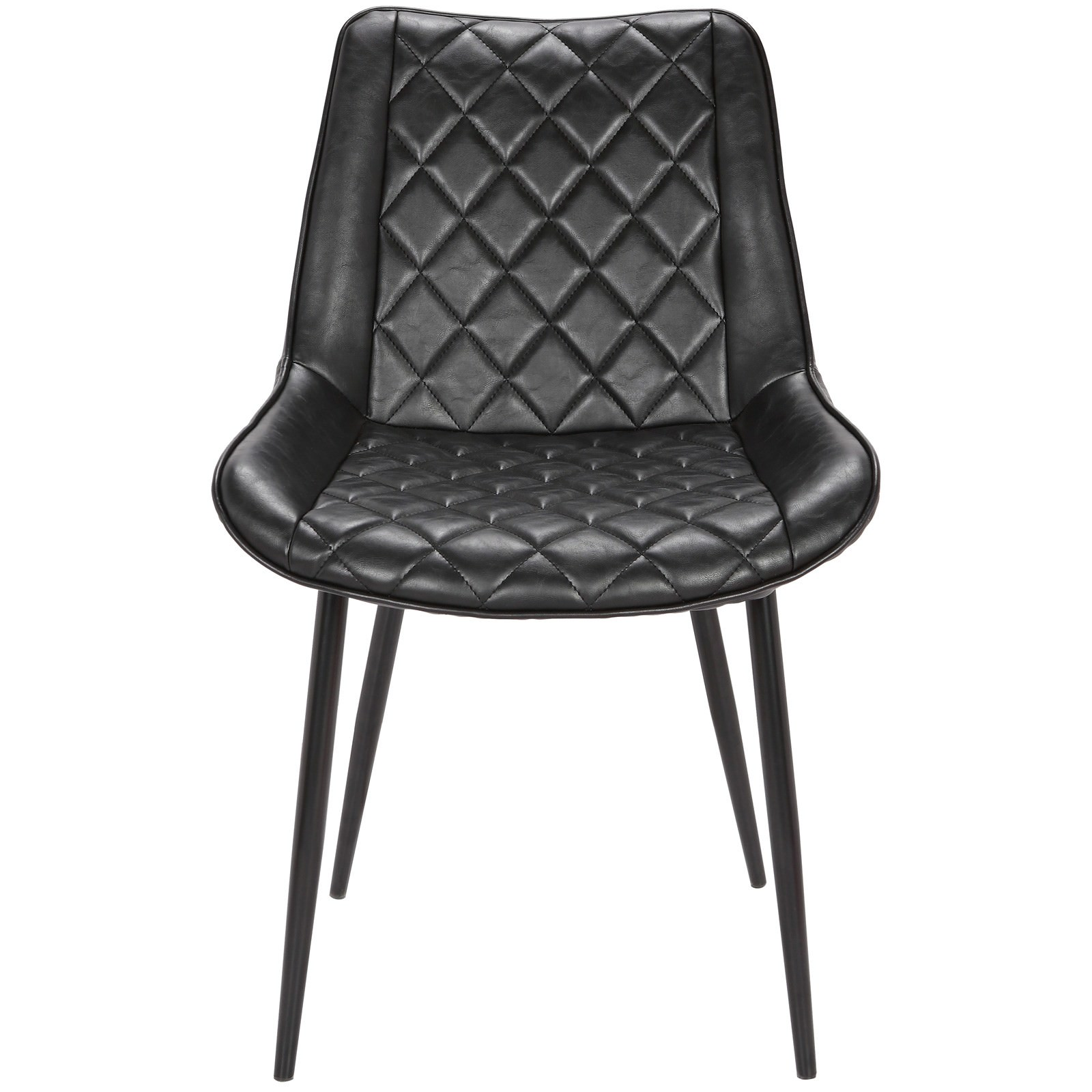 Lyon Commercial Grade Faux Leather Dining Chair, Black