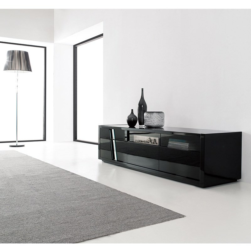 Montenegro High Gloss Black TV Unit - 180cm