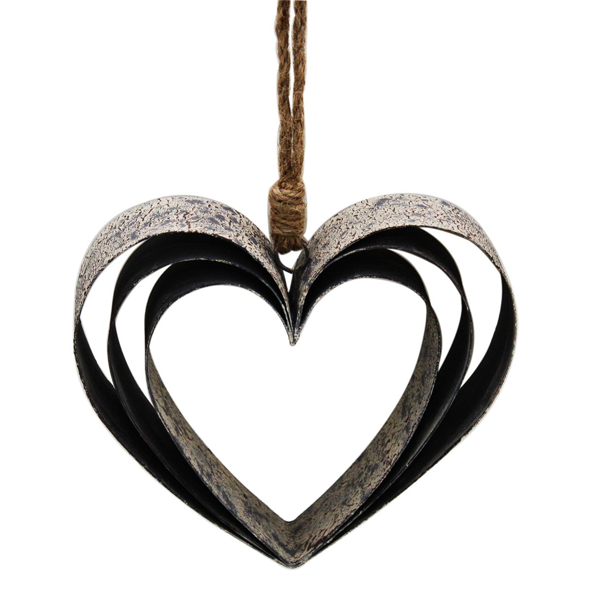 Metal Triple Hollow Heart Hanging Decor, Small, Distressed White