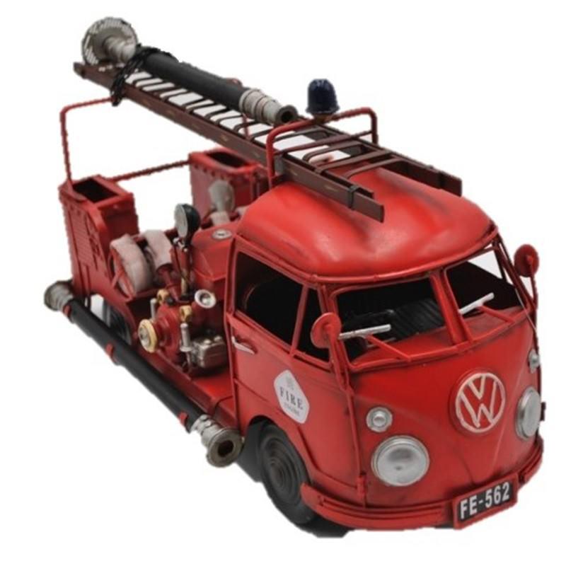 Boutica Handmade Tin Volkswagen 1956 Fire Truck Model