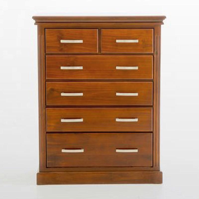 Sterling Solid Pine Timber 6 Drawer Tallboy - 123cm